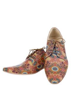 brown floral printed shoes