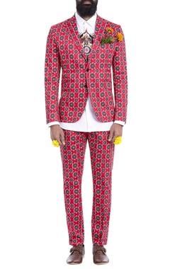 Red motif print blazer