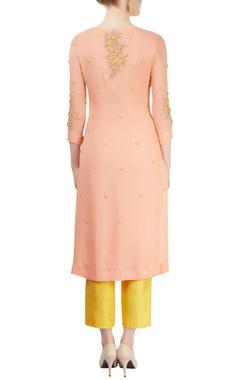 peach & yellow embroidered kurta set