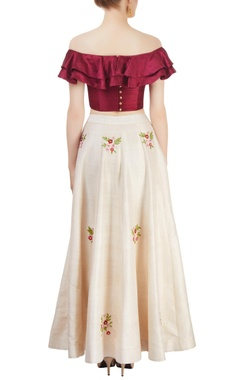 Off-white & maroon embroidered skirt sets