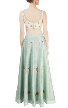 mint green & white embroidered lehenga set