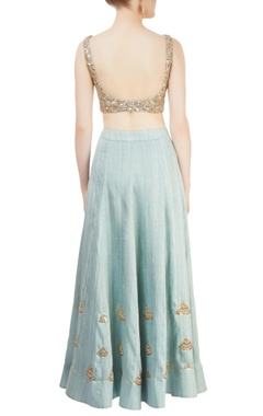 Blue lehenga set with sequin embroidery