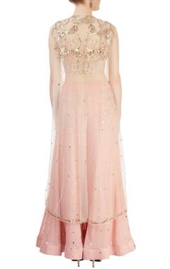 blush pink pant set with mirror-work