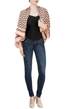 Peach embroidered jacket with zipper