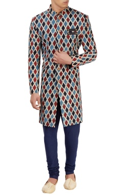 Vegetable printed jacket with additional drape