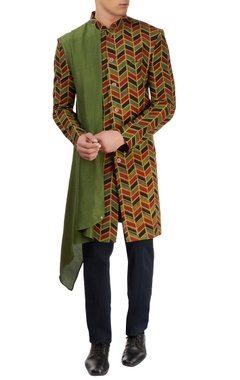 Vegetable printed jacket with a silk drape