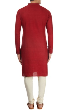 Dark red textured kurta
