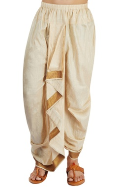 Ivory silk draped dhoti