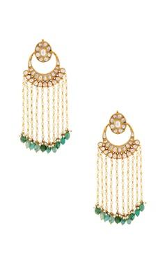 White and green earrings