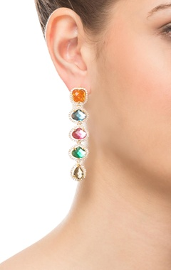 Multicolored layered earrings