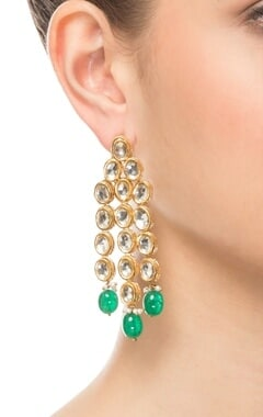 Gold & green linked earrings