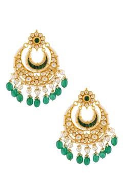 Green stones and kundans earrings