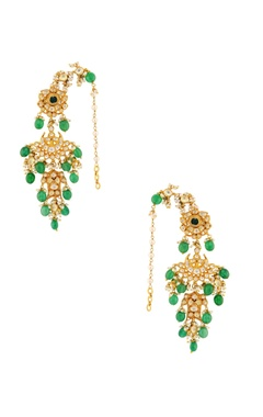 Green & white bead earrings