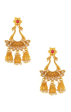 Pink & white jhumka earrings
