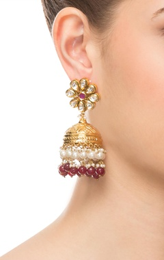 Purple & gold earrings
