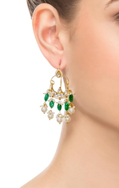 Green & white gold plated earrings
