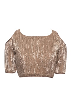 Earthy gold blouse with cold shoulder