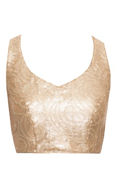 Light gold sequined blouse with cross back