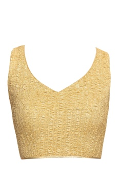 Gold blouse with cross back