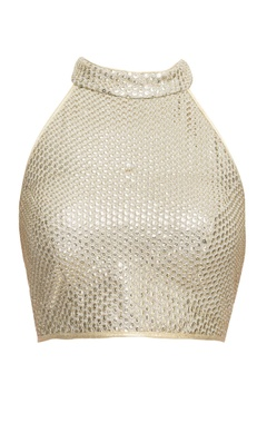 Light gold sequined blouse with halter neck