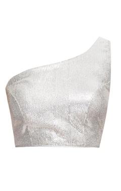 Silver one shoulder blouse