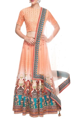 Peach printed lehenga set