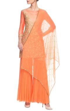Orange embroidered sharara set