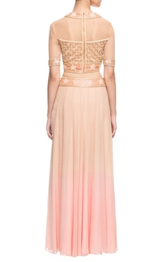 peach embroidered skirt set