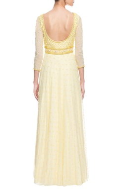 light yellow embroidered anarkali