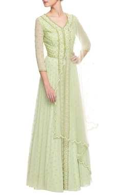 light green embroidered lehenga set