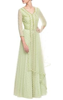 Light green embroidered lehenga set