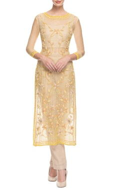 yellow & beige 3d floral embroidered pant set