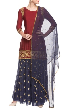 Maroon & blue embroidered sharara set