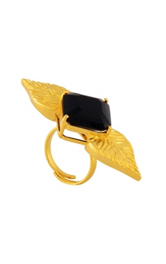 Gold & black winged ring