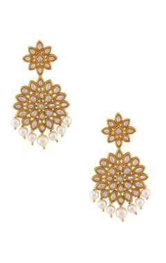 Gold & white kundan earrings