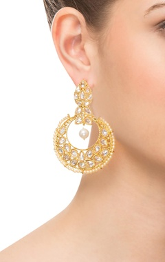 Gold & white beaded kundan earrings