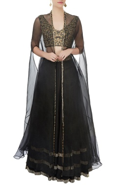 Black lehenga with blouse & jacket