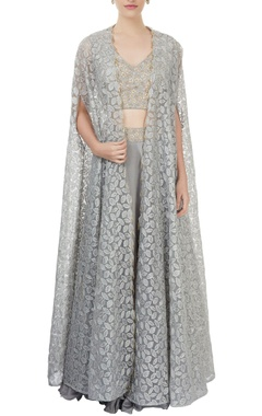 grey lehenga & blouse with cape jacket