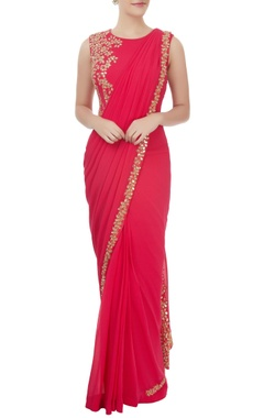 Red embellished sari gown