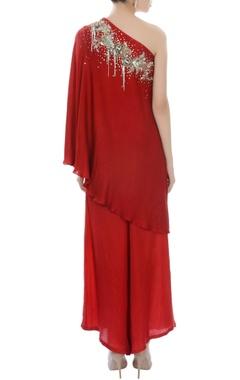 Red one shoulder kurta set