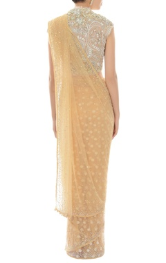 beige sari with ivory embroidered blouse