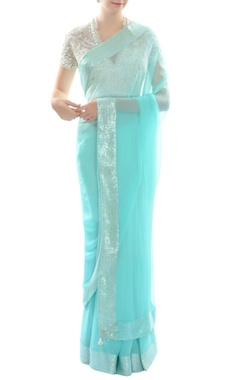 Ivory embroidered blouse with artic blue sari