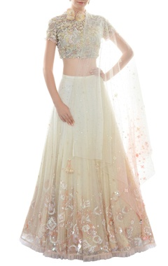 Ivory & blush pink cutwork lehenga set
