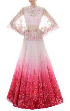 White & fuchsia ombre lehenga set with cape