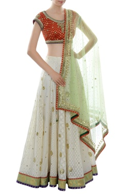 Red, white & green lehenga set