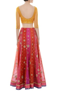 Red, yellow & orange lehenga set