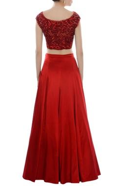 red cutwork & embroidered lehenga set