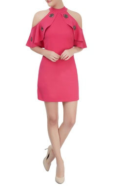 bright pink short and embellished cold dress