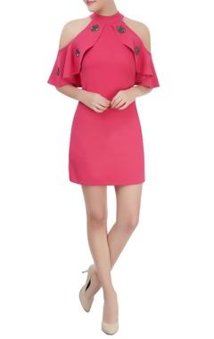 Bright pink short and embellished cold dress