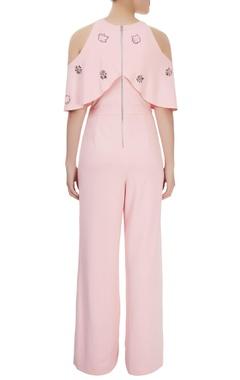 Light pink sword lily jumpsuit with cold shoulder